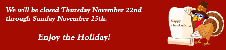 Thanksgiving closing November 23-26