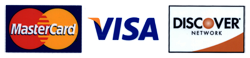 Master Card, Visa and Discover Accepted